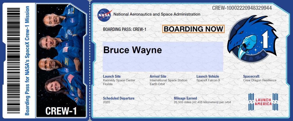 NASA SpaceX Crew1 Boarding Pass