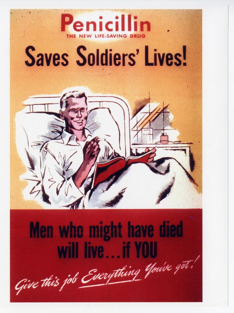 World War II Propaganda Poster - Penicillin Saves Soldiers' Lives!