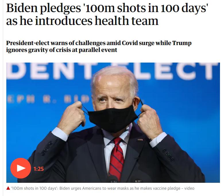 Shots Fired - Biden pledges '100m shots in 100 days'
