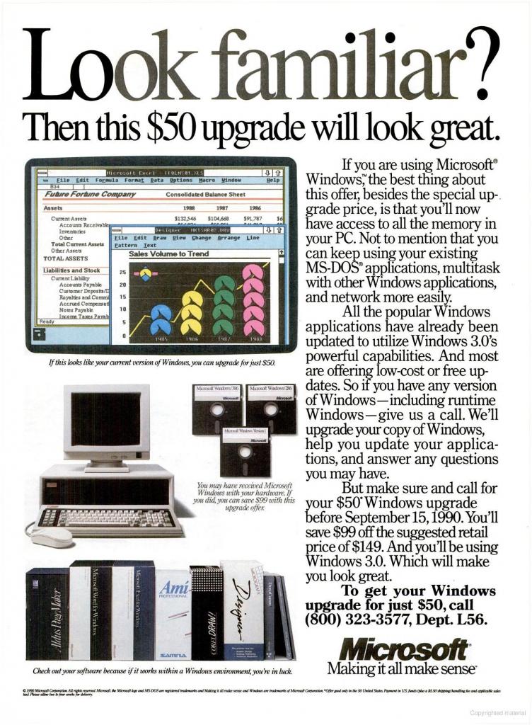 Windows 3.0 Upgrade Offer Ad (1990)