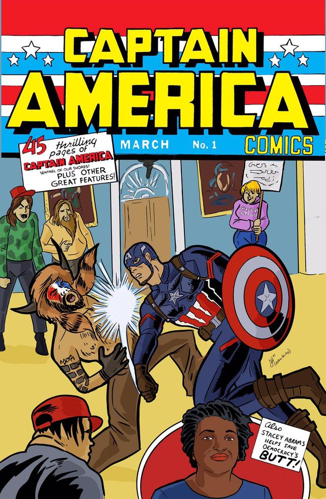 Captain American Punches QAnon Insurrectionist