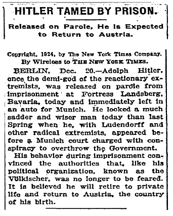 The New York Times - December 20, 1924 - Hitler Tamed By Prison