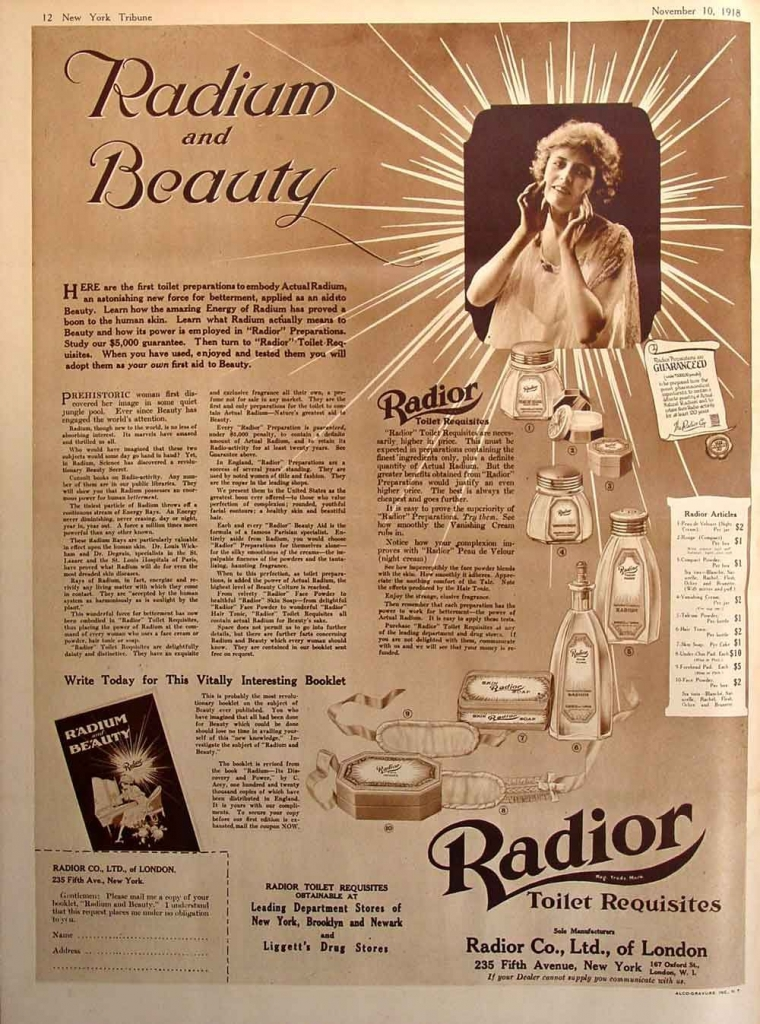 Radium and Beauty Ad, 1918