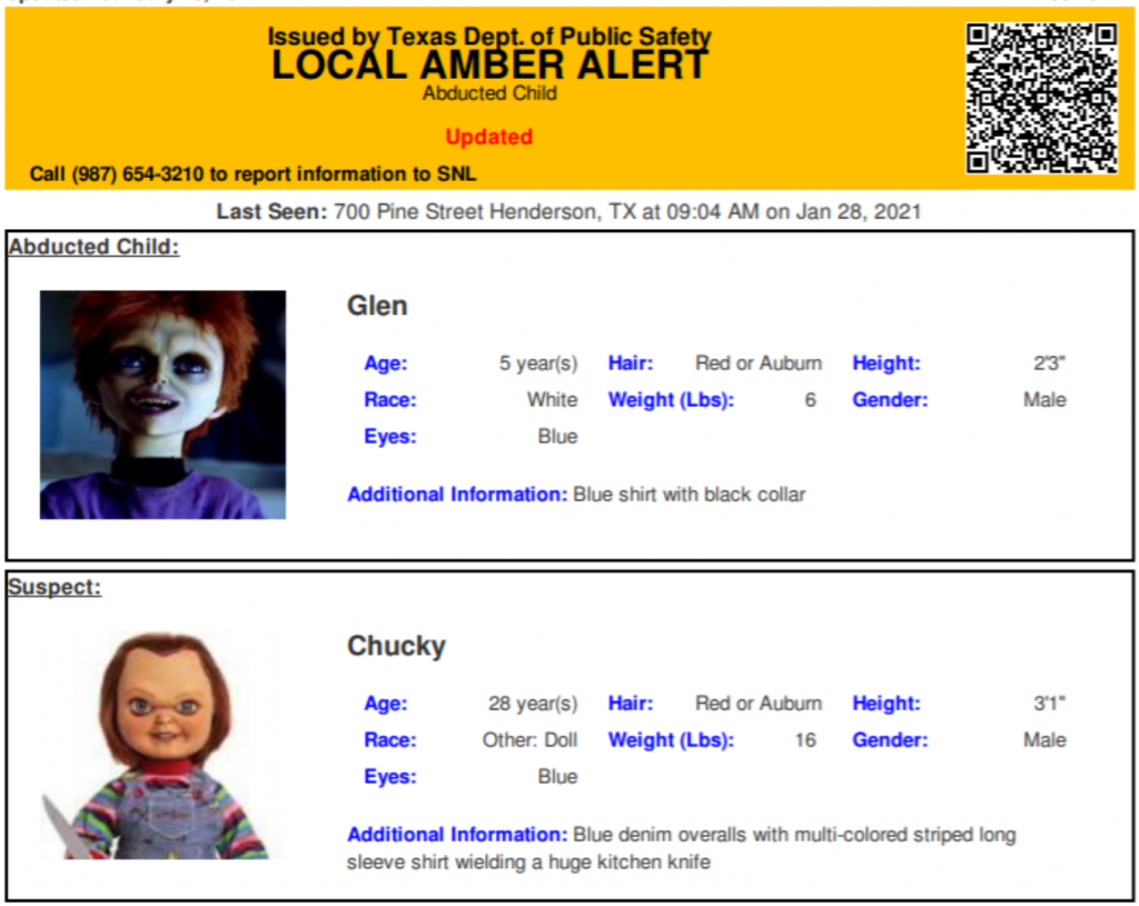 Chucky Amber Alert