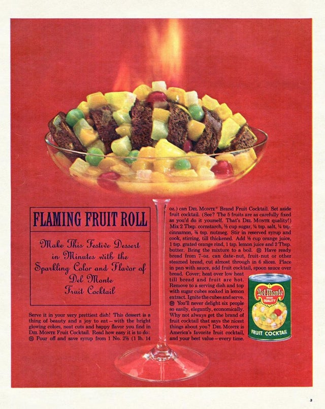 Del Monte 1964 Ad - Flaming Fruit Roll Recipe