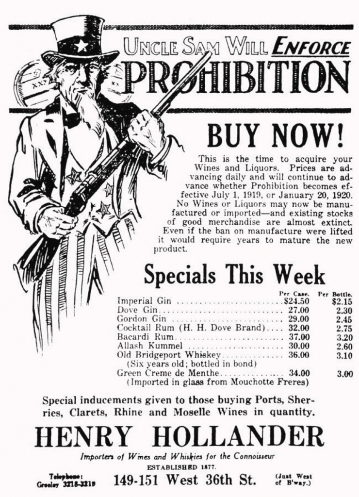 1919 Pre-Prohibition Ad By Henry Hollander