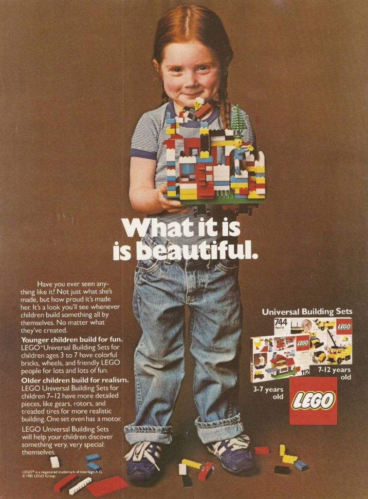 Lego Ad, 1981: What it is is beautiful.