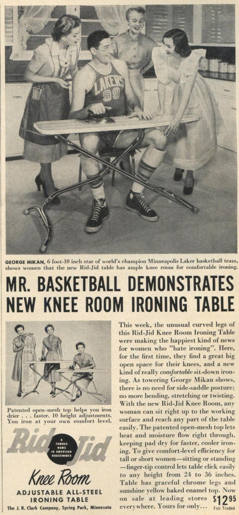 George Mikan Add for Rid Jid Ironing Table