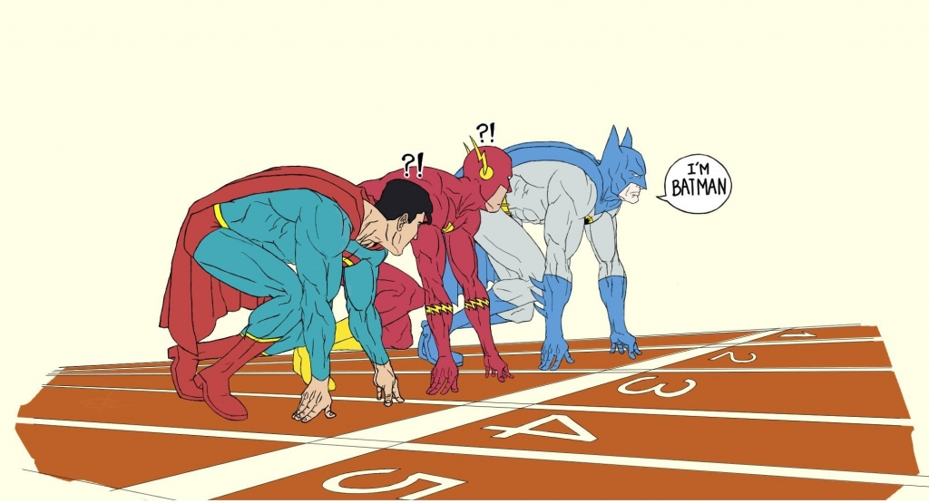 Superman, Flash and Batman About to Race