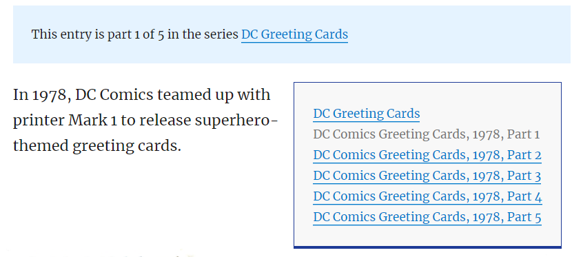 DC Greeting Cards Series Example
