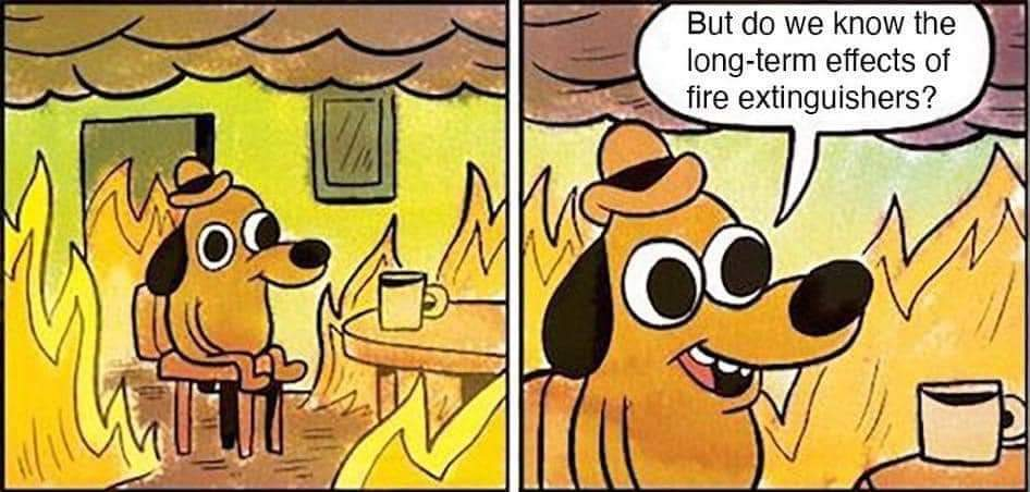 This Is Fine Meme - But do we know the long-term effects of fire-extinguishers?