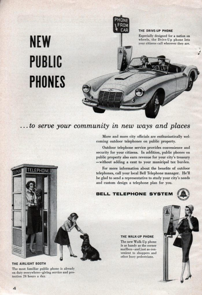 New Public Phones, Bell Telephone System Ad, 1960