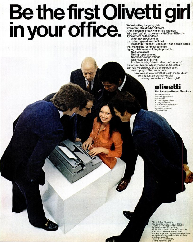 Ad: Be the first Olivetti girl in your office.